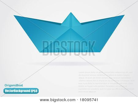 Vector illustration of paper origami boat