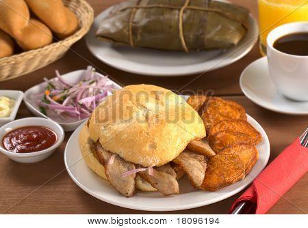 Typical Peruvian breakfast