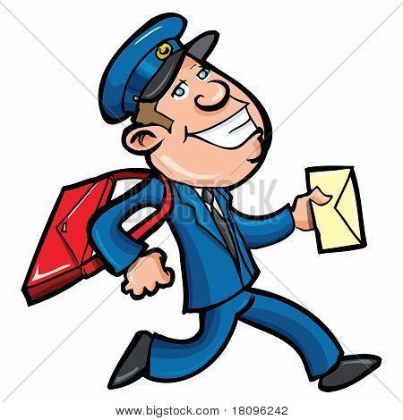 Cartoon Mailman Delivering Mail