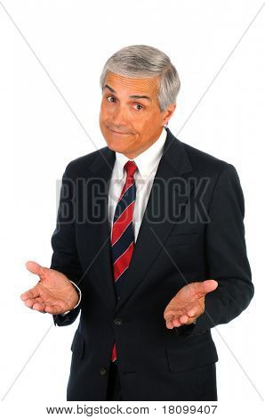 Portrait of a senior business man with a quizzical expression and hand gesture. Vertical format isolated on white.