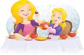 stock photo of heartfelt  - Little gil and her mother have a tea party - JPG