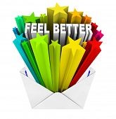 stock photo of feeling better  - An envelope opening to reveal the words Feel Better - JPG