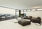 View of spacious room in hotel or penthouse with minimalist interior design and huge panoramic windo poster