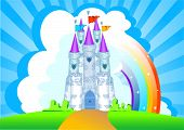 stock photo of fairy-tale  - Invitation card with Magic Fairy Tale Princess Castle - JPG