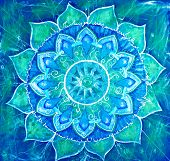 stock photo of chakra  - abstract blue painted picture with circle pattern mandala of vishuddha chakra - JPG