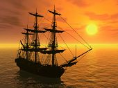stock photo of sail ship  - 3D render depicting a tall sailing ship at sunset - JPG