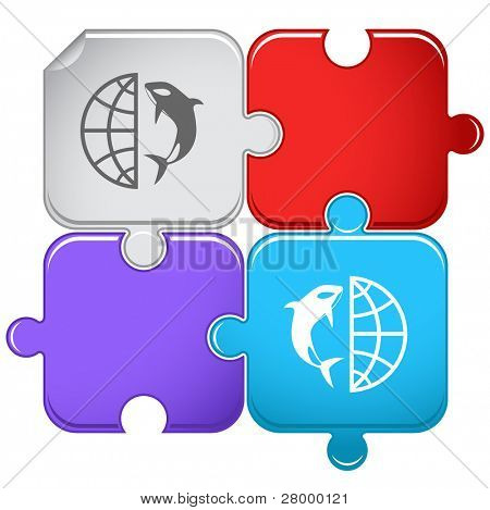 Globe and shamoo. Vector puzzle.
