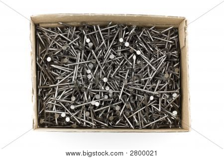 Close-up Of A Box With Nails