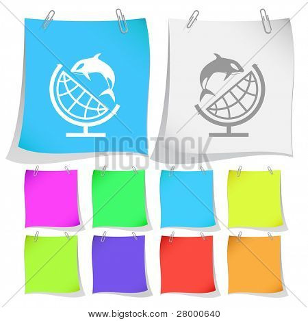 Globe and shamoo. Vector note papers.
