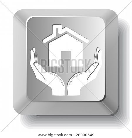 home in hands. Vector computer key.