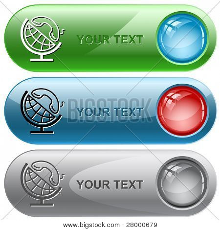 Globe and handset. Vector internet buttons.