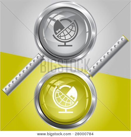 Globe and lock. Vector magnifying glass.