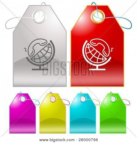 Globe and handset. Vector tags.