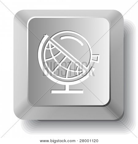 Globe and loupe. Vector computer key.