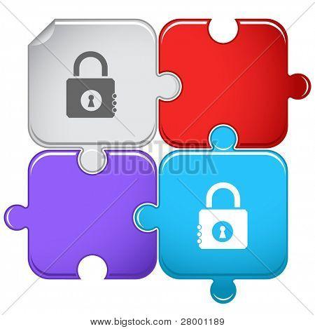 Closed lock. Raster puzzle. Vector version is in portfolio.