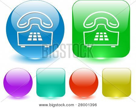 Push-button telephone. Vector interface element.