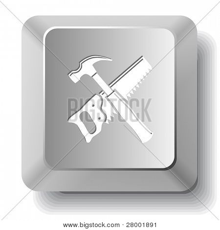 Hand saw and hammer. Computer key. Raster illustration.