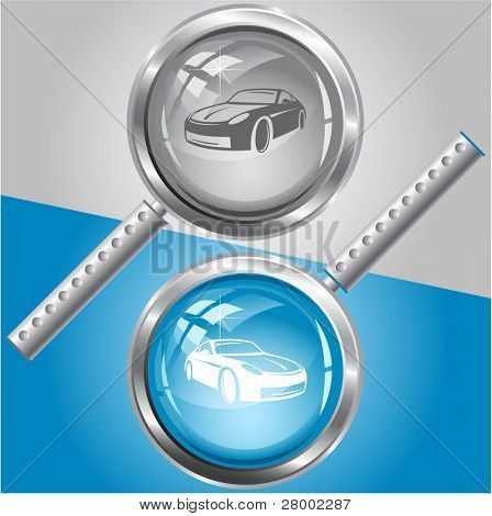 Car. Raster magnifying glass. Vector version is in my portfolio.