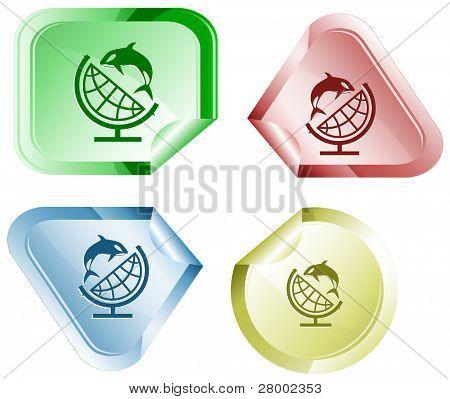 Globus und Shamoo. Vektor-Aufkleber.