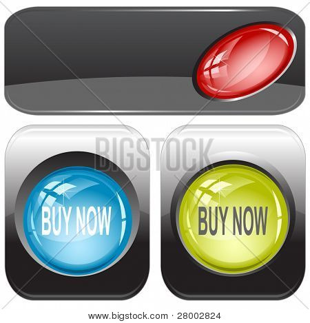 Buy now. Internet buttons. Raster illustration. Vector version is in my portfolio.