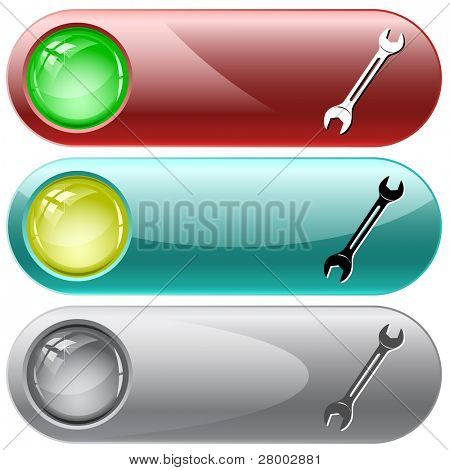 Spanner. Internet buttons. Raster illustration. Vector version is in my portfolio.