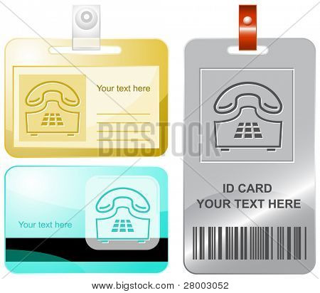 Push-button telephone. Vector id cards.