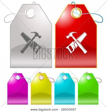 Hand saw and hammer. Raster tags. Vector version is in my portfolio.