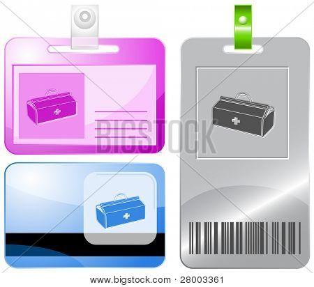 Medical suitcase. Id cards. Raster illustration.
