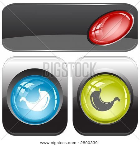 Stomach. Internet buttons. Raster illustration. Vector version is in my portfolio.