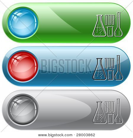 Chemical test tubes. Internet buttons. Raster illustration. Vector version is in my portfolio.