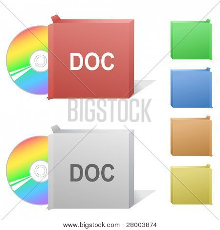 Doc. Box with compact disc. Raster illustration. Vector version is in my portfolio.