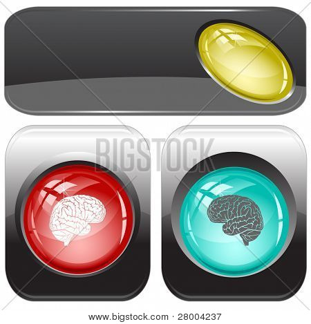 Brain. Internet buttons. Raster illustration. Vector version is in my portfolio.
