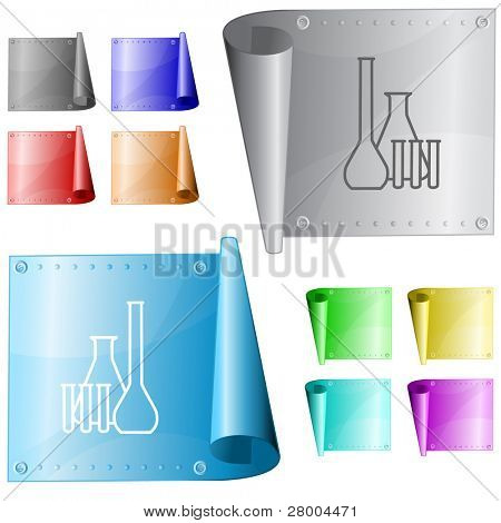 Chemical test tubes. Metal surface. Raster illustration. Vector version is in my portfolio.