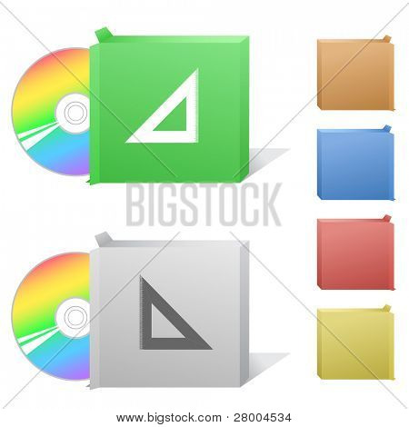 Triangle ruler. Box with compact disc. Raster illustration. Vector version is in my portfolio.