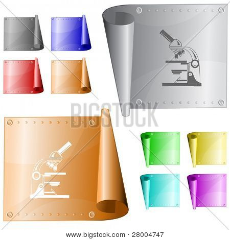 Lab microscope. Metal surface. Raster illustration. Vector version is in my portfolio.