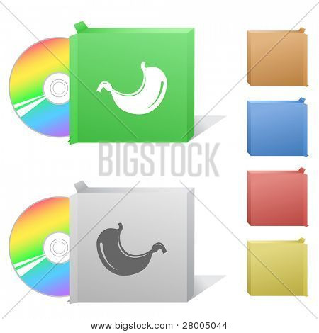 Stomach. Box with compact disc. Raster illustration. Vector version is in my portfolio.
