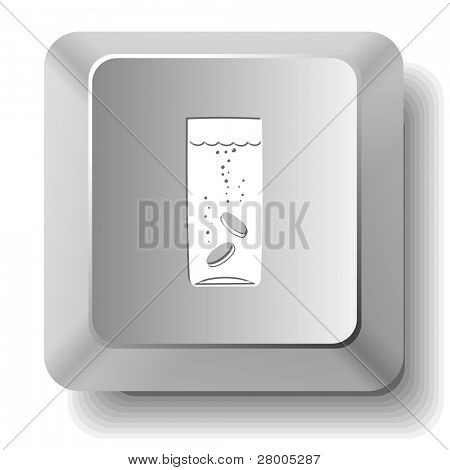 Glass with tablets. Computer key. Raster illustration.