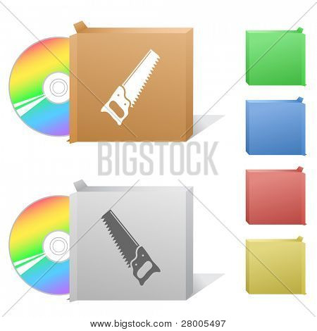 Hand saw. Box with compact disc. Raster illustration. Vector version is in my portfolio.