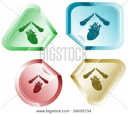 Heart protect. Vector sticker.