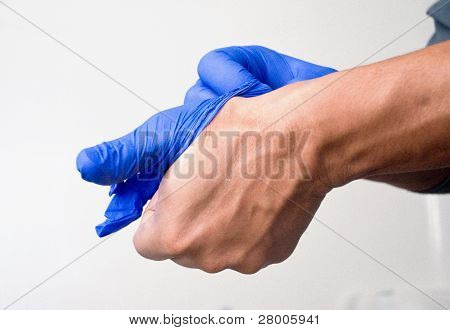 wearing gloves