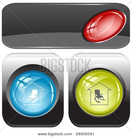 Home comfort. Internet buttons. Raster illustration. Vector version is in my portfolio.