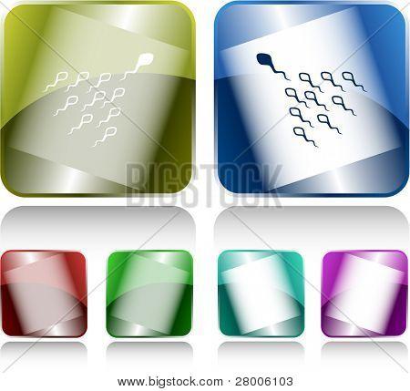 Spermatozoon. Internet buttons. Raster illustration.