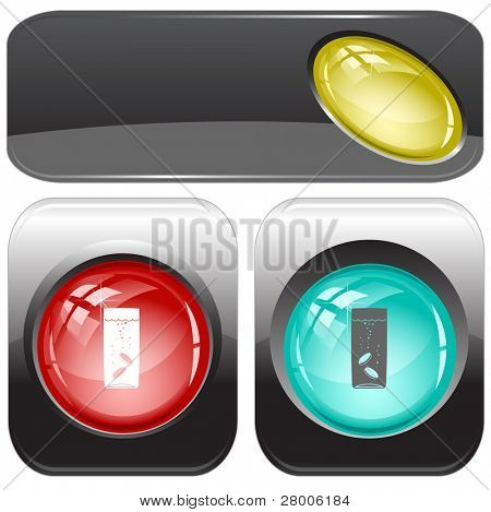Glass with tablets. Internet buttons. Raster illustration. Vector version is in my portfolio.
