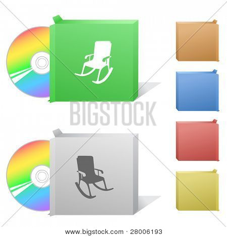 Armchair. Box with compact disc. Raster illustration. Vector version is in my portfolio.