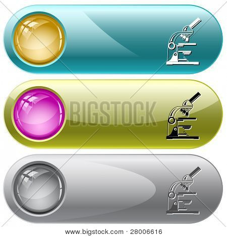 Lab microscope. Internet buttons. Raster illustration. Vector version is in my portfolio.