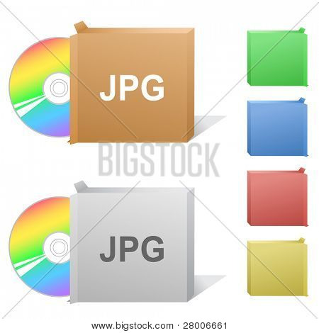 Jpg. Box with compact disc. Raster illustration. Vector version is in my portfolio.