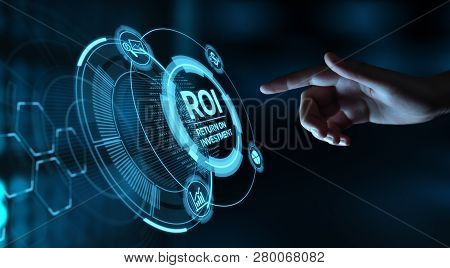 poster of Roi Return On Investment Finance Profit Success Internet Business Technology Concept.