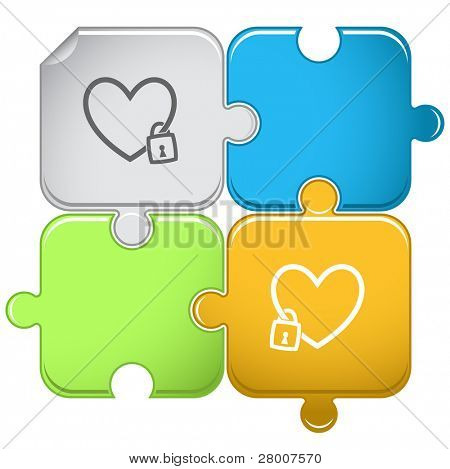 Closed heart. Raster puzzle. Vector version is in portfolio.
