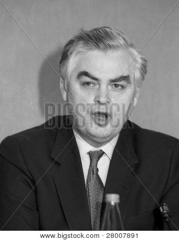 LONDON-MARCH 16: Norman Lamont, Chancellor of the Exchequer and Conservative M.P. for Kingston, speaks at a press conference on March 16, 1992 in London.