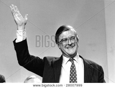 LONDON-MARCH 3: Kenneth Baker, Home Secretary and Conservative party Member of Parliament for Mole Valley, attends a party conference on March 3, 1990 in London.